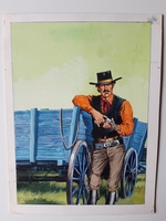 #29. Original Cover painting Western novel Oeste #595