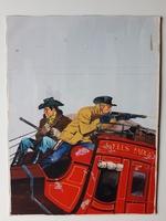 #45. Original Cover painting Western novel Caravana #75