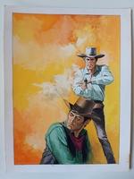 #46. Original Cover painting Western novel Rurales #117