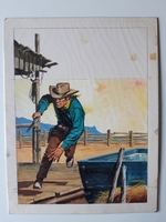 #64. Original Cover painting Western novel U.S.Marshal #281
