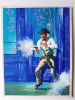#66. Original Cover painting Western novel Cuatreros #118