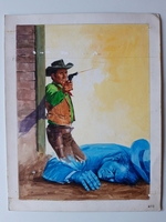 #77. Original Cover painting western novel U.S.Marshal #293
