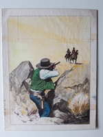 #80. Original Cover painting western novel Cuatreros #66