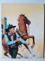 #91. Original Cover painting Western novel Caravana #51