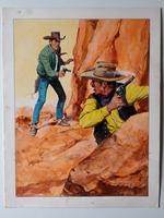 #132. Original Cover painting western novel Caravana #55