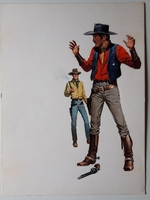 #134. Original Cover painting Western novel U.S.Marshal #251